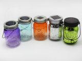 Popular Garden Reflection Niza Pintado Azul Glitter Glass Mason Jar Luz Solar