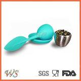 Ws-If034 de Infuser del té de la hoja del tamiz Mango con bola de acero de la hoja de silicona tapa (azul)