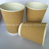Tazas de papel del café de la pared de la ondulación