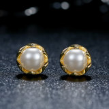 New Presents Clear CZ Compatível com Jóias Loja especial 925 Sterling Silver Gold Pearl Stud Earrings