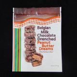 Bolso plástico de gama alta de la cremallera del chocolate con la parte inferior del soporte