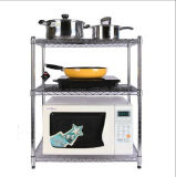 Cremalheira de múltiplos propósitos do forno de micrôonda da cozinha do metal do cromo na tabela