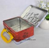 Изготовленный на заказ прямоугольная коробка олова обеда металла с ручкой
