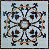 Mosaïque d'art en marbre naturel avec photo de fleur pour décoration de sol