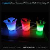 Cubo de hielo recargable del compartimiento LED del LED Champán