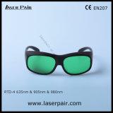 635nm las gafas de seguridad rojas de laser del diodo del laser +905nm/980nm con protegen longitud de onda: 630 - 660nm y 800 - 830nm y 900-1100nm