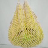 Mehrfachverwendbarer Lebensmittelgeschäft-Baumwollineinander greifendrawstring-Nettobeutel für Orange