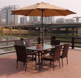 Rieten Stoel en Eettafel die met de Paraplu van de Zon wordt geplaatst
