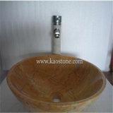 ベージュ花こう岩の大理石の浴室の洗浄流し、石造りの容器の円形の洗面器