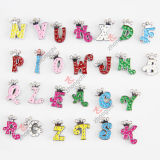 8mm Colorful Rhinestone Alphabet/Letter Slide Charms для ювелирных изделий Making (JP08)