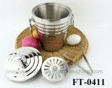 Roestvrij staal Spiricle Ice Bucket met Tongs (voet-0411)