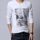 T-shirt de manga comprida de manga comprida algodão / algodão para homens