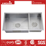 acier inoxydable de pouce 33X18 sous le bassin de cuisine fabriqué à la main de support