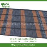 Azulejo de material para techos del metal con las virutas de piedra cubiertas (azulejo de madera)