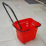 Vollständiges New Design Supermarket Plastic Rolling Shopping Basket mit Wheel