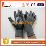 Серым Nylon перчатка покрынная нитрилом работы черноты раковины Dnn412