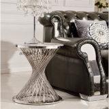 現代ホテルのロビーの家具の屋内開かれたステンレス鋼ガラス表のコーヒー花の机