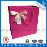 Saco De Presente De Papel Impresso De Cor-de-rosa com Decoração de Fita