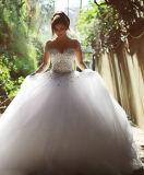 Длинняя втулка 0010 отбортовывая платья венчания мантии шарика Tulle камней кристаллический