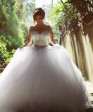 Luva 0010 longa que perla os vestidos de casamento de cristal do vestido de esfera de Tulle das pedras