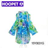Manteau capitonné imperméable à l'eau de chien d'océan de fleur de chien bleu de modèle