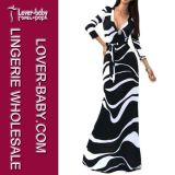 Vestito casuale il più in ritardo stampato dalla donna dei 2015 manicotti lunghi (L51208-2)