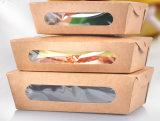 Rectángulo de papel de la categoría alimenticia de la ensalada respetuosa del medio ambiente de Kraft con la ventana