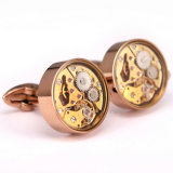 Custom esclusivo Men Watch Movement Cufflinks con Glass Cover Wm-910c