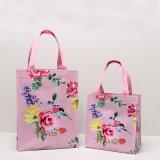 Deux tailles imperméabilisent les sacs d'emballage floraux d'achats d'impression de PVC (H036-006)
