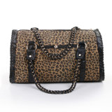 Leopard PU Leather Handbag Moda Top Handle Boston Bag