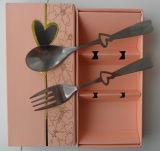 Insieme della coltelleria dell'acciaio inossidabile con il contenitore di regalo ed il disegno elegante