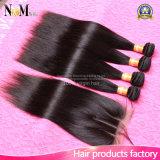 レースの閉鎖の閉鎖が付いているブラジルのまっすぐなRemyの人間の毛髪の織り方が付いている閉鎖3の毛の束が付いている7A Brazillianのバージンの毛