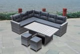 Wicker Rattan Patio Garden Loungeset Ensemble de canapé Polywood Table Outdoor Furniture (J545-POL)
