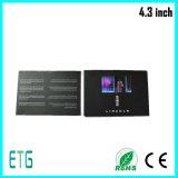 LCD de 4.3 pulgadas tarjetas de vídeo, tarjetas de felicitación, tarjetas de visita, tarjeta de felicitación de vídeo LCD
