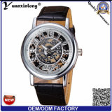 Relógio de Mens mecânico automático de esqueleto de Japão Movt do tipo do couro genuíno do relógio do OEM Tourbillon da fábrica dos relógios de forma Yxl-423