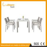 Landwirtschaftliche Leute der Art-vier trugen graues Textilene ausgeglichenes Glas-Stuhl-Tisch-Aluminiumset auf