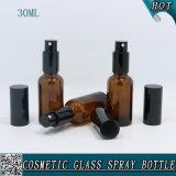 bernsteinfarbige Glasflasche des spray-30ml mit Nebel-Sprüher für kosmetisches Wasser-Rosen-Wasser