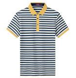 Camicia di polo a strisce del cotone degli uomini nel colore giallo