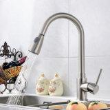Retirer le taraud de mélangeur argenté balayé par nickel de bassin de cuisine d'émerillon de robinet