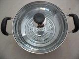 ガラス蓋との真珠の形の鍋を調理するステンレス鋼