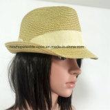 100% del sombrero de paja, estilo fedora con la decoración de la banda para unisex