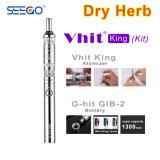 New Seego E-Cigarette Vhit King Atomizer + Kits de batterie avec énorme vapeur pour herbes sèches