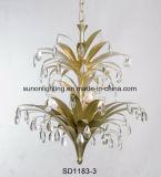 Kundenspezifisches Champagne-Goldblatt-Eisen-hängendes Licht für Hotel