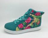 2016新しい卸売によって印刷された花は女の子の偶然靴を高切った