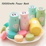 Batería dual universal de la potencia del regalo de cumpleaños del USB del mini de la leche de la potencia de la batería 10000mAh de batería cargador externo lindo portable de la salvaguardia para los teléfonos móviles