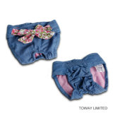 Les jeans Bowtie pointille le pantalon de vêtements d'animal familier de lacet pour les crabots femelles