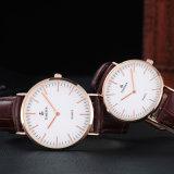 Reloj de encargo de los hombres y de las mujeres de la correa de cuero de la venta al por mayor de la insignia, reloj caliente 72178 del estilo de Dw de la venta