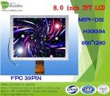 """module de TFT LCD de 8.0 """" 800X1280 Mipi, Hx8394, 39pin, pour la position, sonnette, médicale"""