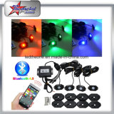 Precio de fábrica 4 Pods Bluetooth Control Mini RGB LED Luz de roca 9W IP68 LED Rock Light para Offroad Truck Car Jeep Boat Moto