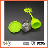 Punho inoxidável do silicone da esfera de aço da ferramenta do chá da folha solta de Infuser do chá Ws-If042 (verde)